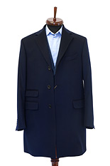 Gentlemen`s Corner Navy Slim Fit Overcoat