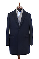 Gentlemen`s Corner Navy Slim Fit MTM Overcoat