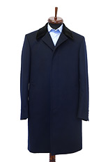 Gentlemen`s Corner Navy Slim Fit MTM Overcoat - Velvet Collar