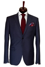 Gentlemen`s Corner Texture Blue Slim Fit Jacket
