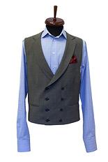 Gentlemen`s Corner Grey Twill Waistcoat - Made to Measure