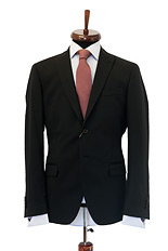 Gentlemen`s Corner Fine Stripe Black Slim Fit Jacket