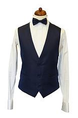 Gentlemen`s Corner White Dots Navy Waistcoat - Made to Measure