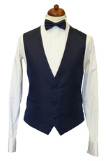 Gentlemen`s Corner White Dots Navy Waistcoat - Made to Measure