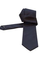 Gentlemen`s Corner Jacquard Silk Tie - White Dots Navy