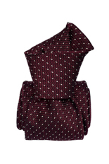 Gentlemen`s Corner White Dots Burgundy Grenadine Silk Tie