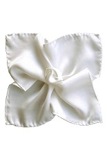 Gentlemen`s Corner Silk Pocket Square - White
