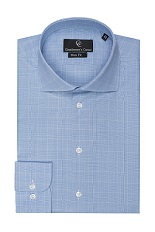 Arden Blue Check Shirt - Button Cuff