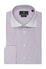 Clark Purple Stripe White Shirt - Double Cuff