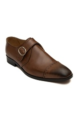 Gentlemen`s Corner Monk Leather Shoes - Brown