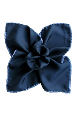 Gentlemen`s Corner Silk Pocket Square - Navy & Blue