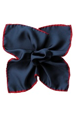 Gentlemen`s Corner Silk Pocket Square - Navy & Red