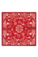 Gentlemen`s Corner Silk Pocket Square - Floral Red