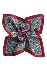 Gentlemen`s Corner Silk Pocket Square - Livorno Burgundy