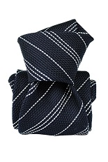 Gentlemen`s Corner White Stripe Navy Grenadine Silk Tie