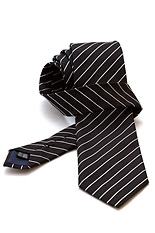 Gentlemen`s Corner White Stripe Black Silk Tie
