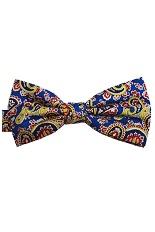 Lloyd Attree & Smith Silk Bow Tie - Blue Paisley Fancy