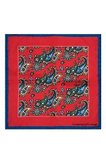 Gentlemen`s Corner Silk Pocket Square - Paisley Red & Blue