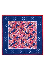 Gentlemen`s Corner Silk Pocket Square - Blue Dots & Paisley