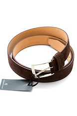 Gentlemen`s Corner Dark Brown Suede Leather Belt