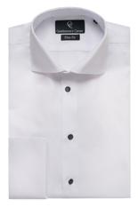 Zante White Dress Shirt - Black Buttons