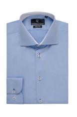 Blue Twill Shirt - Button Cuff - White