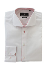 White Twill Shirt - Button Cuff - Red-