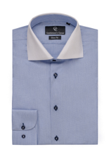 Blue Stripe Shirt - Button Cuff - Ethan