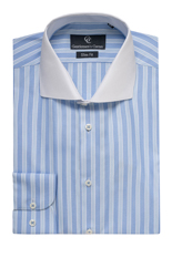 Roma White Collar Blue Stripe Shirt - Button Cuff