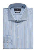 Roma Blue & White Stripe Shirt - Button Cuff
