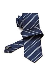 Gentlemen`s Corner Stripe Dark Blue Silk Tie