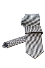 Gentlemen`s Corner Mini Black & White Checks Silk Tie