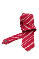 Gentlemen`s Corner Textured Stripe Red Silk Tie