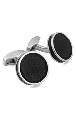 RT Enamel Round Cufflinks - Ice Tablet Black