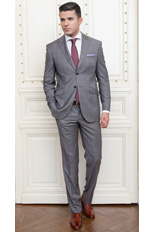 Gentlemen`s Corner Slim Fit Grey Checks Suit - Nobility