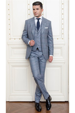 Gentlemen`s Corner Slim Fit Grey Checks Suit - Heritage