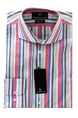 White, Blue & Red Stripe Shirt - Button Cuff-