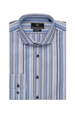 White, Blue & Ivory Stripe Shirt - Button Cuff