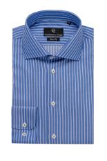 Wide Blue Stripe Shirt - Button Cuff