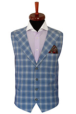Gentlemen`s Corner Blue Checks Waistcoat - Made to Measure