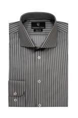 White Stripe Grey Slim Fit Shirt