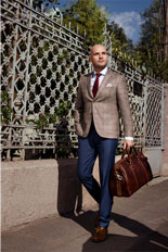 Gentlemen`s Corner Light Brown Check Slim Fit Jacket