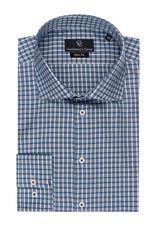 David Blue Check Slim Fit Shirt