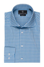 Light Blue Check Slim Fit Shirt