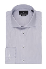 Black Fine Stripe White Shirt - Button Cuff