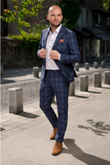 Gentlemen`s Corner Light Blue Check Blue Suit
