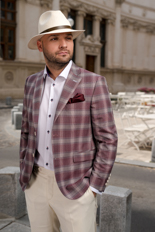 Gentlemen`s Corner Garnet Check Slim Fit Jacket