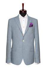 Gentlemen`s Corner Textured Turquoise Slim Fit Jacket