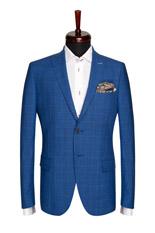 Gentlemen`s Corner Blue Check Slim Fit Jacket - Oxygen