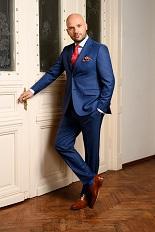 Gentlemen`s Corner Slim Fit Business Blue Suit - Mark